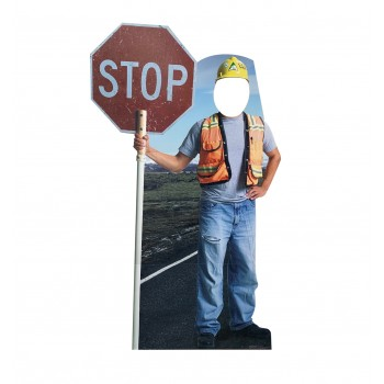 Construction Worker Stop Sign Standin - $39.95
