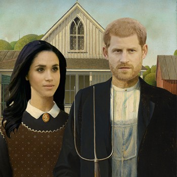 Prince Harry and Megan American Gothic Cardboard Cutout - $0.00