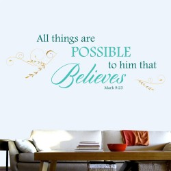 All Things Are Possible To Him Wall Decal