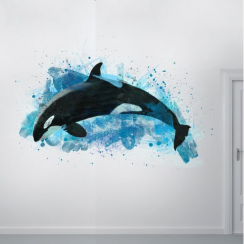 View Product Watercolor Orca Whale Wall Decal