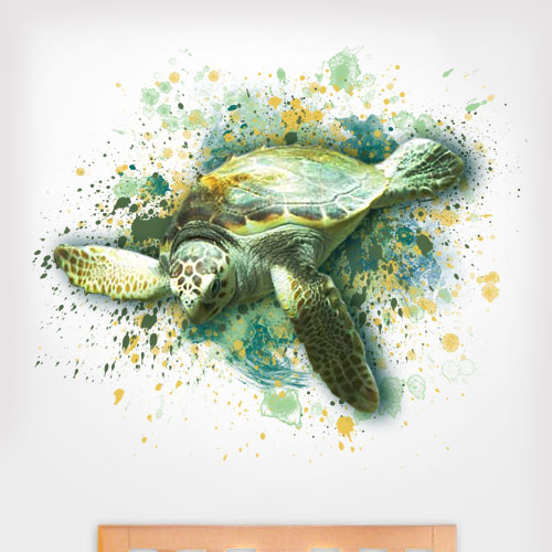 View Product Artsy Sea Turtle Colors Wall Decal
