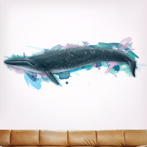 Artsy Blue Whale Wall Decal