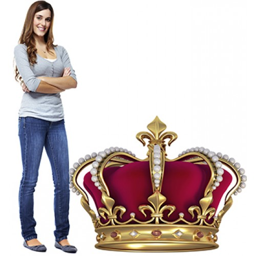 Gold Crown with Jewels Cardboard Cutout