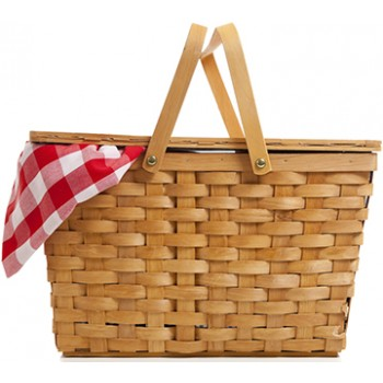 Wicker Picnic Basket with Gingham Cloth Cardboard Cutout - $39.95
