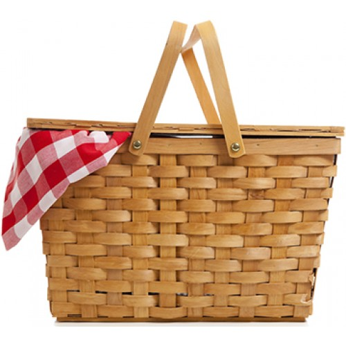 Wicker Picnic Basket with Gingham Cloth Cardboard Cutout