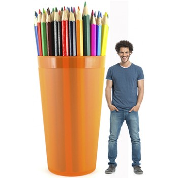 Color Pencils in an Orange Cup Cardboard Cutout