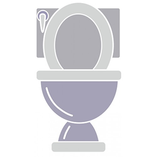 Womens Bathroom Toilette Cardboard Cutout