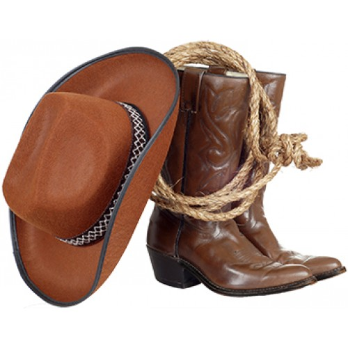 Cowboy Boots Hat And Lasso Cardboard Cutout