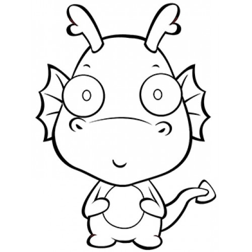 Baby Dragon Cardboard Coloring Cutout