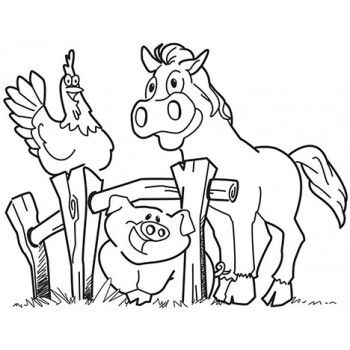 Farm Animals Cardboard Coloring Cutout