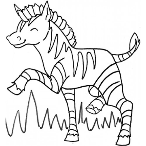 Zebra On Grass Cardboard Coloring Cutout