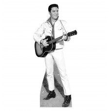 Elvis B&W White Jacket Cardboard Cutout