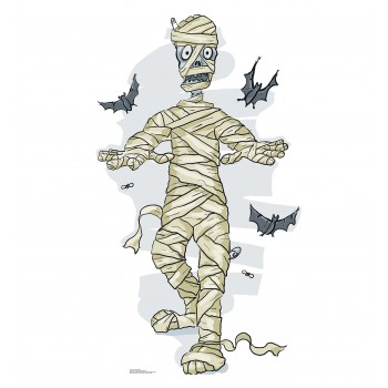 Cartoon Mummy  and  Bats Cardboard Cutout