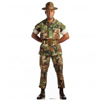Camo Military Man Cardboard Cutout