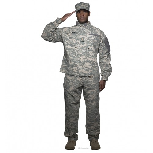 Digital Camo Soldier Cardboard Cutout