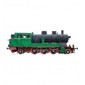 Green and Red Steam Locomotive Cardboard Cutout