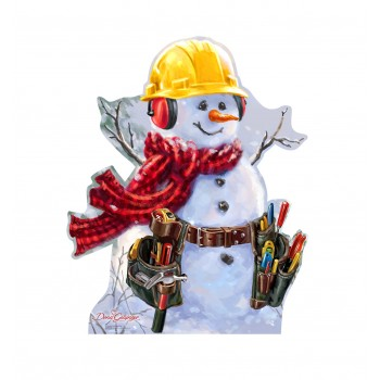 Snowman Construction Worker (Dona Gelsinger Art) Cardboard Cutout - $39.95