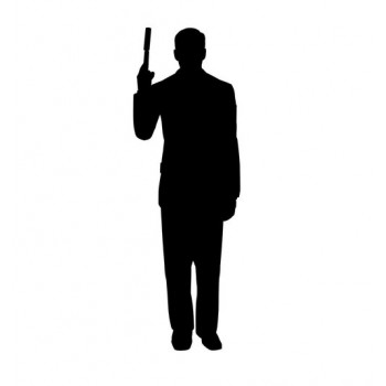 Secret Agent Spy With Gun Silhouette Cardboard Cutout - $39.95