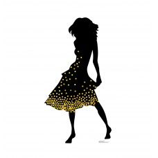 Silhouette Dancer Yellow Sparkles