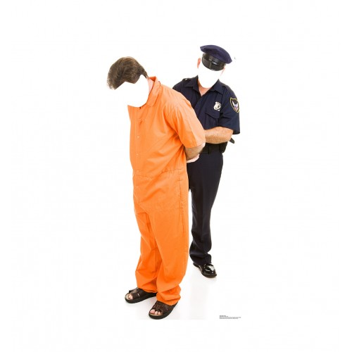 Inmate and Police Officer Standin Cardboard Cutout