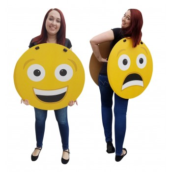 Happy/Sad Emoji Costume Cardboard Cutout
