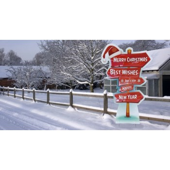 Holiday Directional Yard Sign  Coroplast Cutout Cardboard Cutout - $59.95