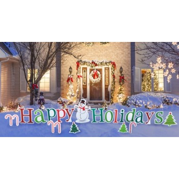 Happy Holidays Yard Sign  Coroplast Cutout Cardboard Cutout - $119.95