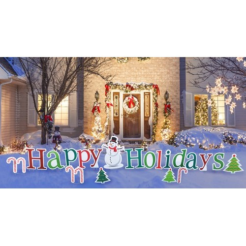 Happy Holidays Yard Sign  Coroplast Cutout Cardboard Cutout
