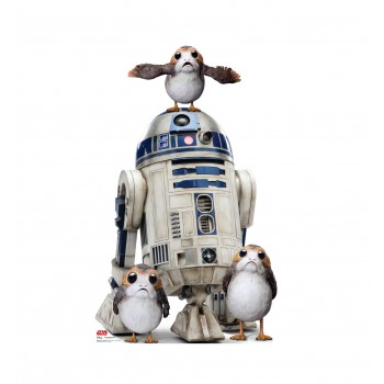 Porgs with R2-D2 Cardboard Cutout
