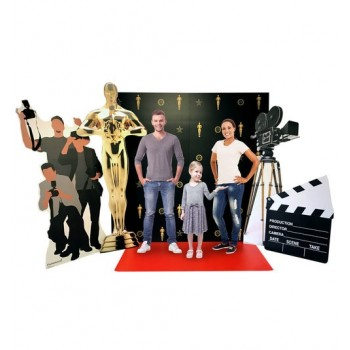 Hollywood Red Carpet Scene (Includes: Red Carpet Step and Repeat Backdrop DW, Roll out Red Carpet, Hollywood Camera, Paparazzi, Trophy and Film Clapper) Cardboard Cutout