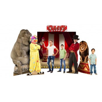 Circus Theme Backdrop Includes: (2691 Circus Lion, 2692 Circus Ring Master, Circus Backdrop and Header and 1480 Asian Elephant) Cardboard Cutout