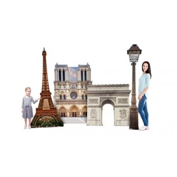 Paris Landmark Party Set 2 (1847 Paris Street Lamp, 150 Eiffel Tower, 1849 Paris ArcdeTriomphe and 2684 Notre Dame) Cardboard Cutout - $149.00