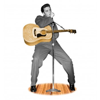 Elvis Presley - B&W w/Guitar -TALKING Cardboard Cutout - $49.95