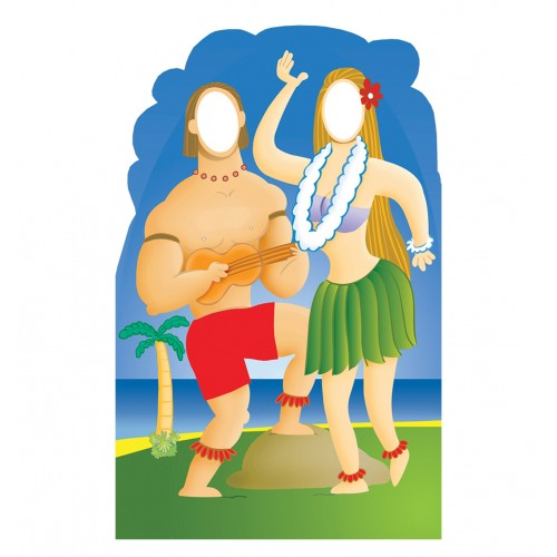 Hawaiian Couple Stand In Cardboard Cutout