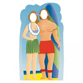 Surf Board Couple Stand In Cardboard Cutout - $39.95