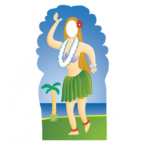 Hula Girl Stand In Cardboard Cutout