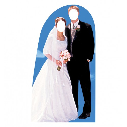 Bride, and Groom Stand In Cardboard Cutout