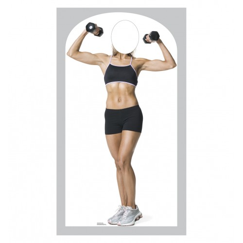 Muscle Woman Stand In Cardboard Cutout