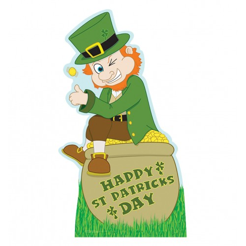 Leprechaun with Pot of Gold Rainbow Cardboard Cutout