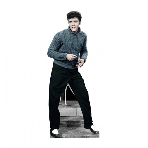 Elvis Blue Sweater Cardboard Cutout