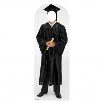 Male Graduate Black Cap, and Gown Standin Cardboard Cutout - $39.95