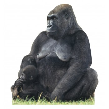 Gorilla Mom, and Child Cardboard Cutout