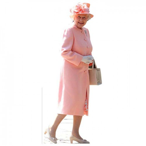 Queen Elizabeth II Pink Cardboard Cutout