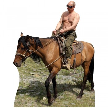 Shirtless Putin Riding Horse Side View Cardboard Cutout