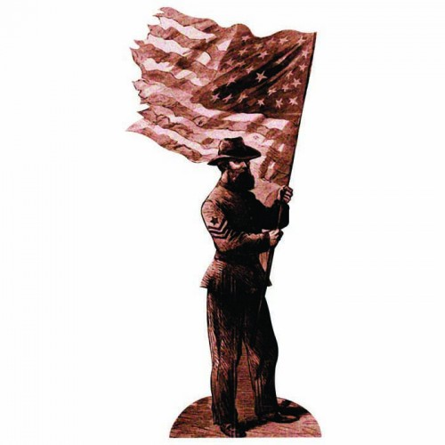 Union Soldier with flag Cardboard Cutout