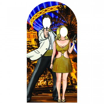 Black and Gold Secret Agent Stand-In Cardboard Cutout