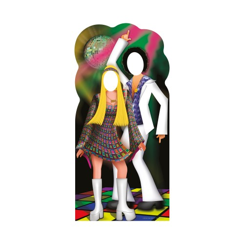 Disco Couple Stand In Cardboard Cutout
