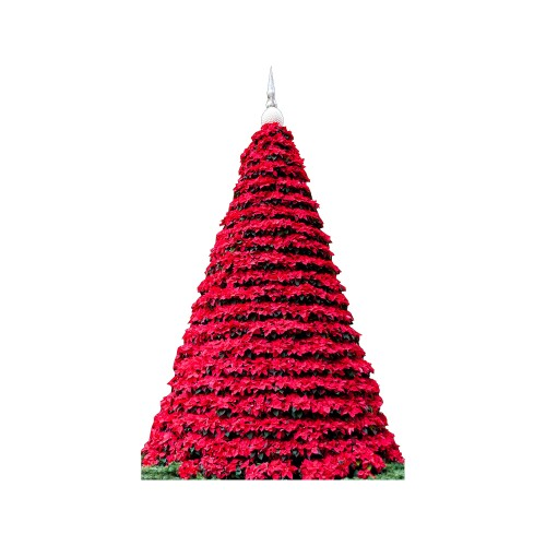 Poinsetta Christmas Tree Cardboard Cutout
