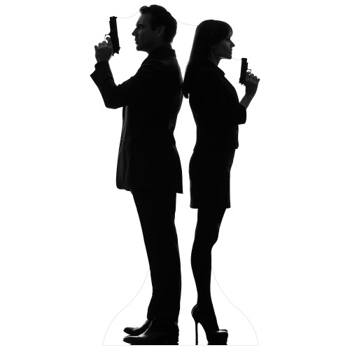 Secret Agent Couple Cardboard Cutout