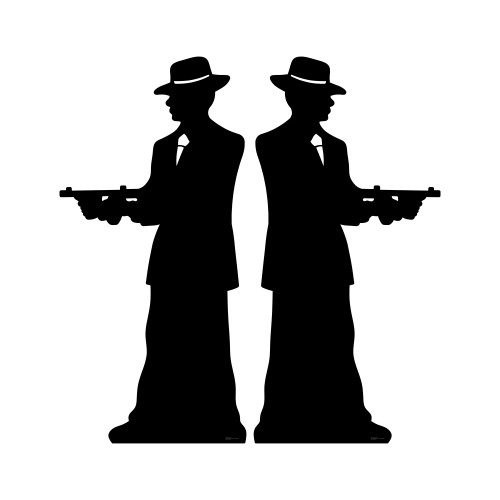 Gangster Silhouette Double Pack Cardboard Cutout